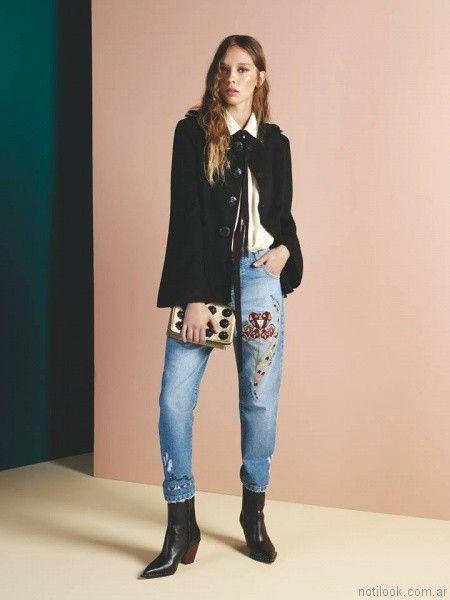 jeans bordados Maria Cher otoño invierno 2017