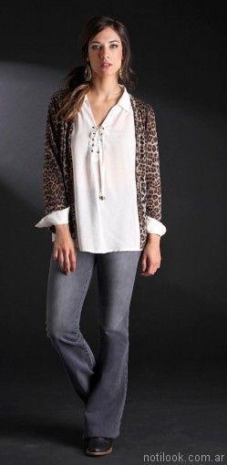 jeans oxford y campera leopardo Brandel otoño invierno 2017