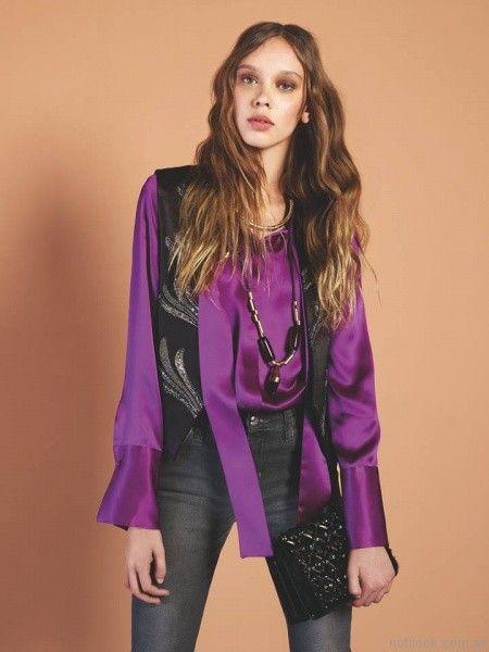 jeans y camisa de seda Maria Cher otoño invierno 2017