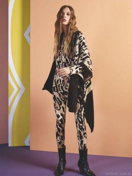 ruana animal print leopardo Maria Cher otoño invierno 2017