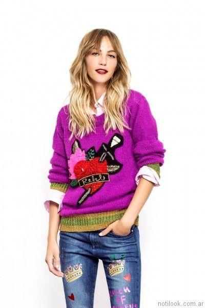 sweater violeta con apliques Agustina Saquer otoño invierno 2017