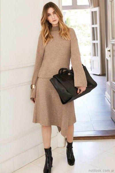 sweater y pollera tejida Uma otoño invierno 2017