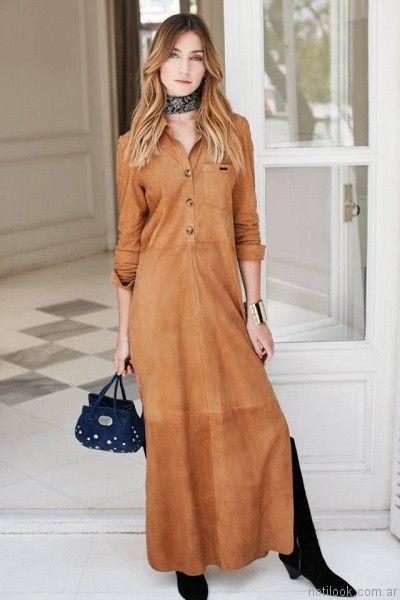 vestido largo gamuzado para el dia Uma otoño invierno 2017