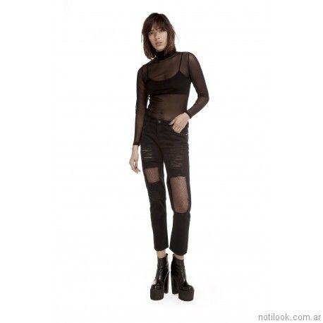 Jeans roto negro Ona Saez Mujer invierno 2017
