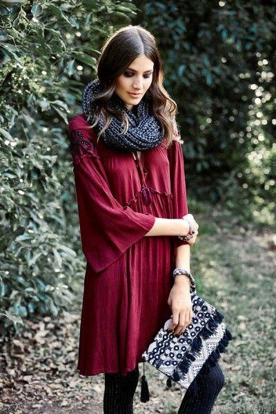 blusa bordo India Style otoño invierno 2017