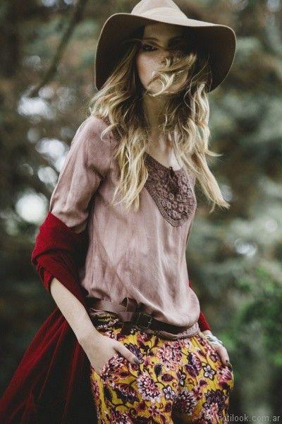 blusa con guipur otoño invierno 2017 - Tibetano