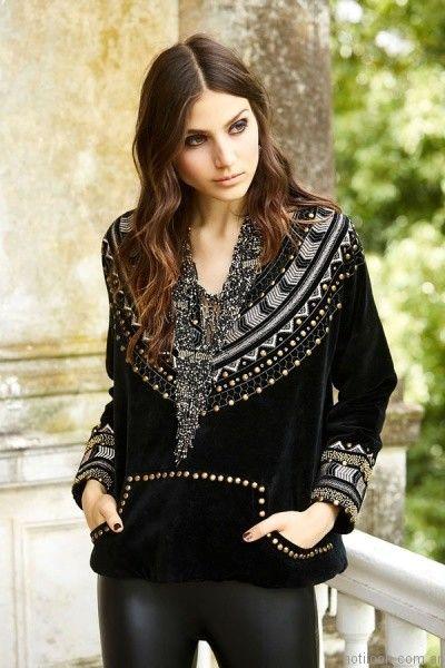 blusa de terciopelo invierno 2017 India Style otoño invierno 2017
