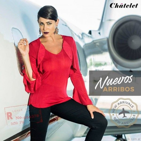 blusa mangas largos con volados roja chatelet otoño invierno 2017