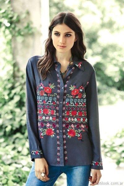 camisa bordada India Style otoño invierno 2017