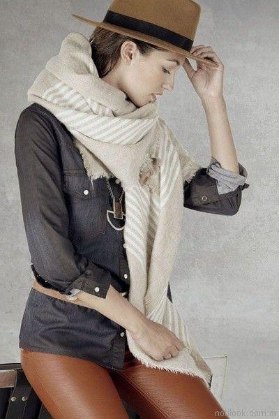 camisa denim y pantalon de cuero ossira otoño invierno 2017