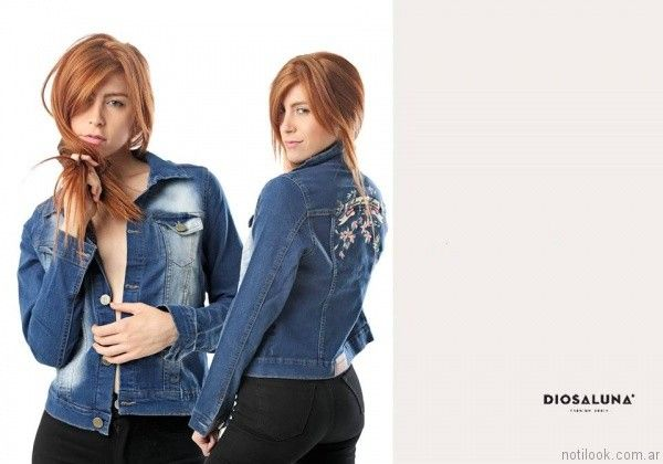 campera de jeans bordada Diosa Luna otoño invierno 2017