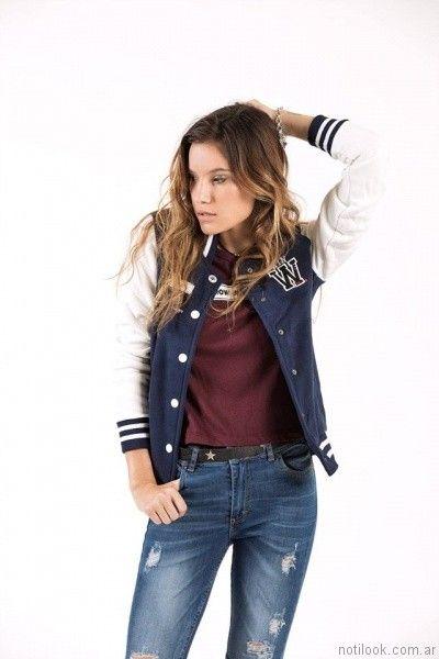 campera estilo universitaria mujer Scombro Jeans otoño invierno 2017