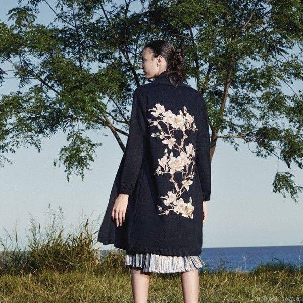 cardigan tejido largo con bordado Carmela Achaval invierno 2017