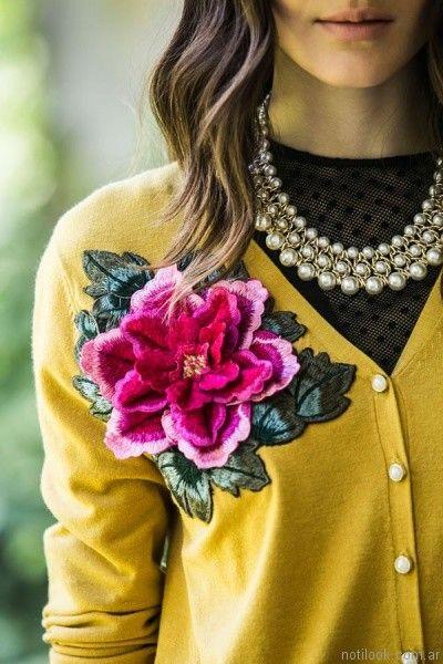 cardigans con aplique bordado India Style otoño invierno 2017