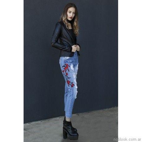 jeans bordado Ona Saez Mujer invierno 2017