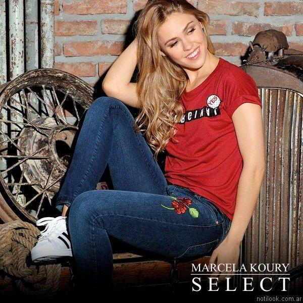 jeans bordados Marcela Koury Select otoño invierno 2017