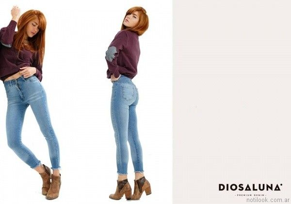 jeans chupin con terminacion rustica Diosa Luna otoño invierno 2017