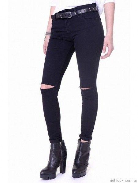 jeans chupin negro Ona Saez Mujer invierno 2017