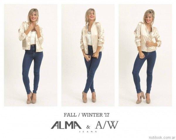 jeans chupin y campera bomber Alma Jeans otoño invierno 2017