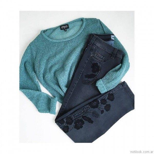 jeans con bordados y apliques MOravia Jeans otoño invierno 2017