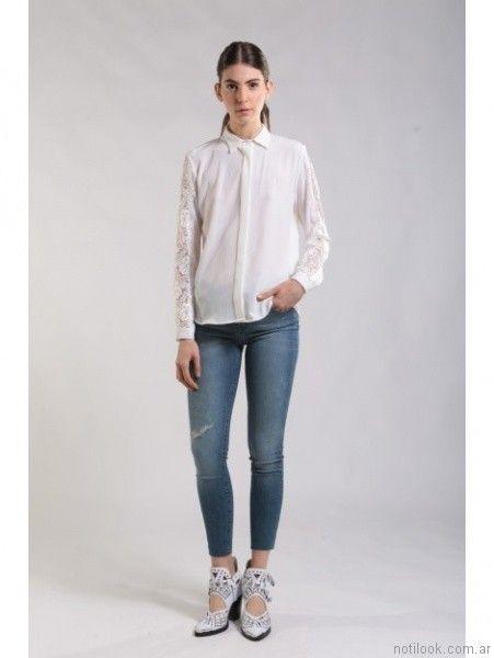 jeans con camisa blanca Ona Saez Mujer invierno 2017