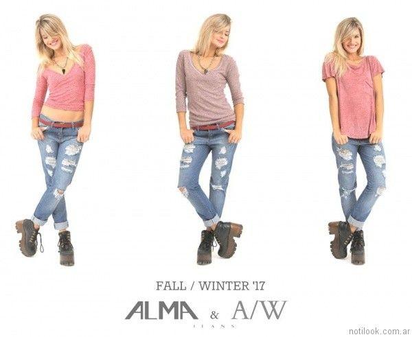 jeans con roturas Alma Jeans otoño invierno 2017