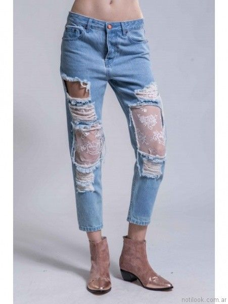jeans roto con encaje Ona Saez Mujer invierno 2017