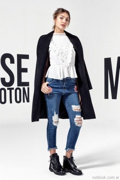 jeans roto otoño invierno 2017 - Melocoton