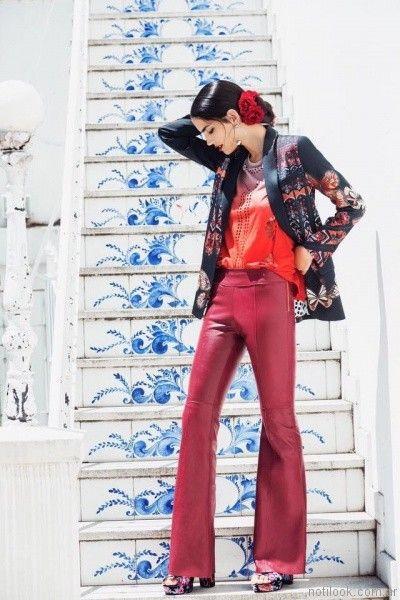 pantalon oxford de cuero Benito Fernandez otoño invierno 2017