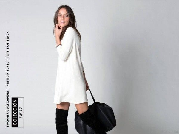 572977c902428 vestido blanco sastrero oversize Chocolate otoño invierno 2017 ...