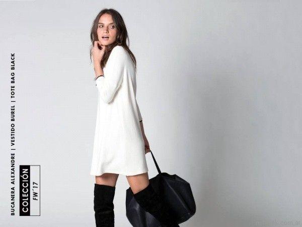 vestido blanco sastrero oversize Chocolate otoño invierno 2017