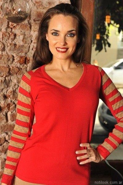Di madani sweater rojo y beige otoño invierno 2017