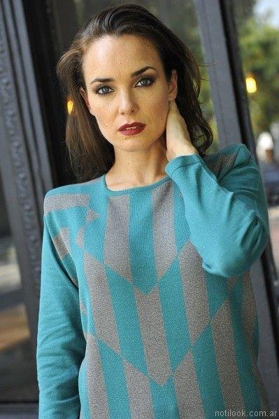 Di madani sweater turquesa y gris otoño invierno 2017