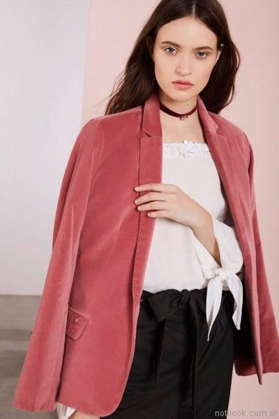 blazer mujer rosa gamuzado Vero Alfie otoño invierno 2017