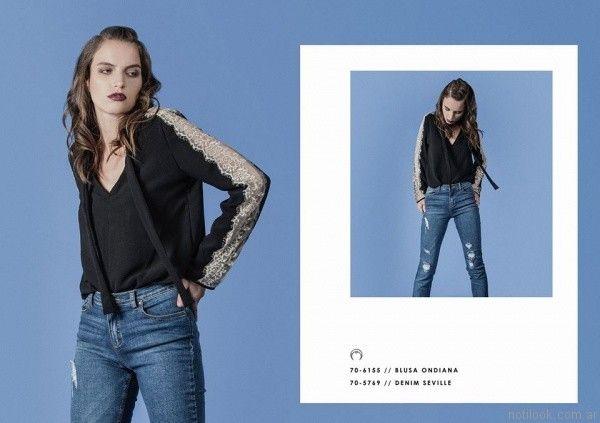 blusa con recorte de encaje en mangas Legacy otoño invierno 2017
