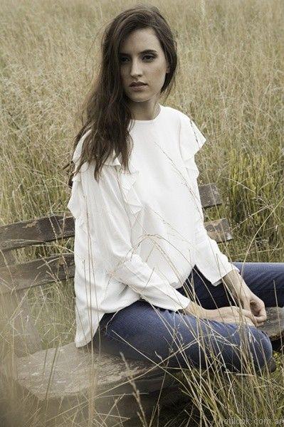 blusa mangas largas blanca orix otoño invierno 2017