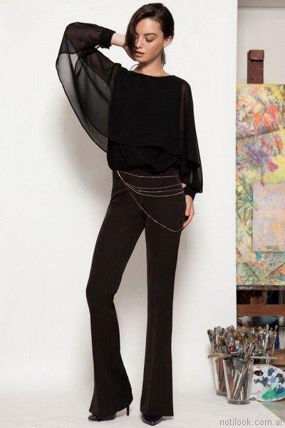 blusa negra mangas largas zulas otoño invierno 2017