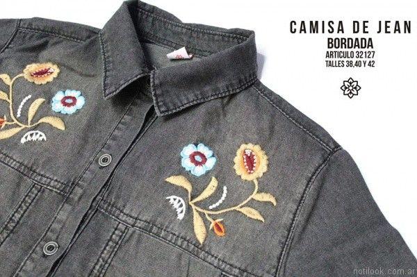 camisa de jeans bordada nahana jeans invierno 2017
