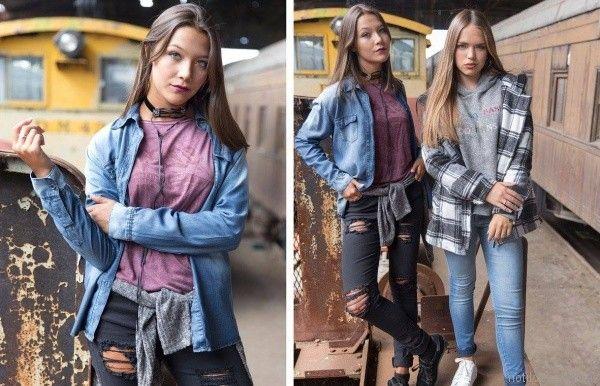 camisas de jeans y saco escoces juvenil Doll Fins otoño invierno 2017