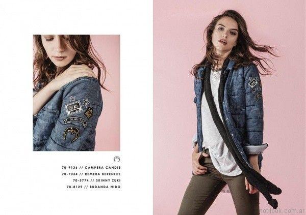 campera de jeans con abrigo y bordados Legacy otoño invierno 2017