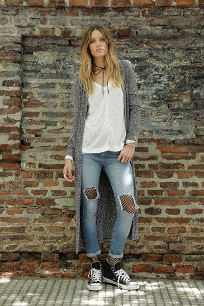 cardigan largo tejido Riffle Jeans invierno 2017
