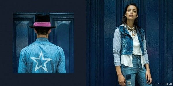 chaleco denim y pantalon con roturas Vov Jeans invierno 2017