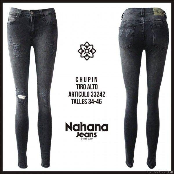 chupin con roturas negro nahana jeans invierno 2017