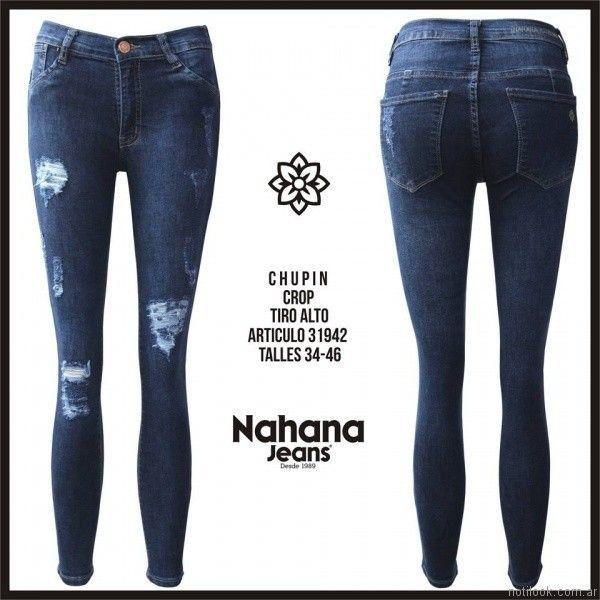 chupin crop con roturas nahana jeans invierno 2017