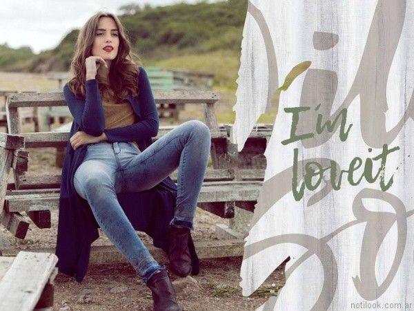 jeans chupin con terminacion rustica kodo Jeans otoño invierno 2017