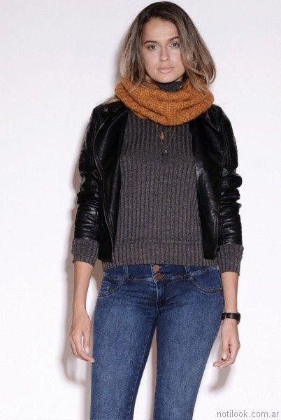 jeans con sweater de lana y campera de cuero Vigga Jeans invierno 2017