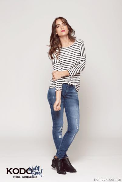 look casual con jeans kodo Jeans otoño invierno 2017