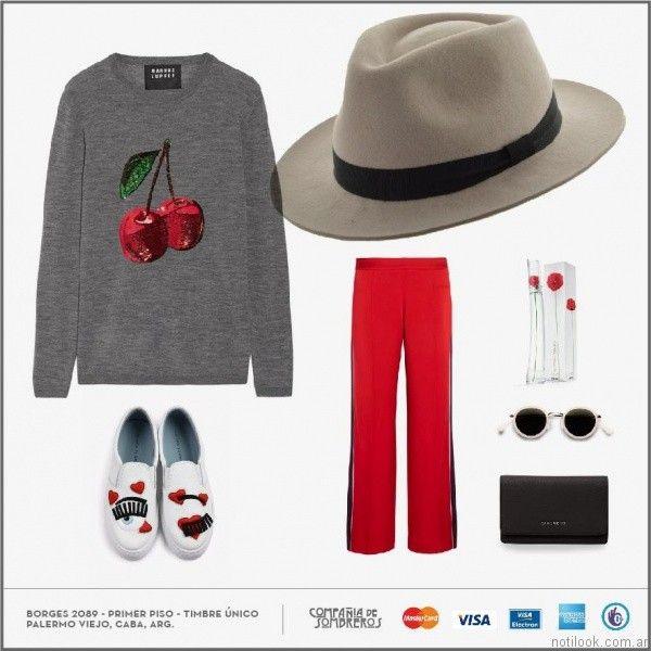 look sporty chic con sombrero de fieltro Compañia de sombreros otoño invierno 2017