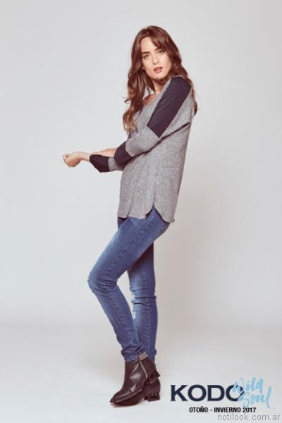 outfit casual con jeans kodo Jeans otoño invierno 2017