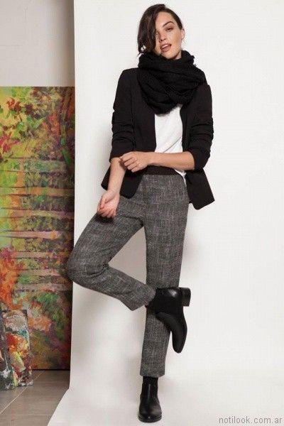 pantalon de vestir recto y blazer zulas otoño invierno 2017